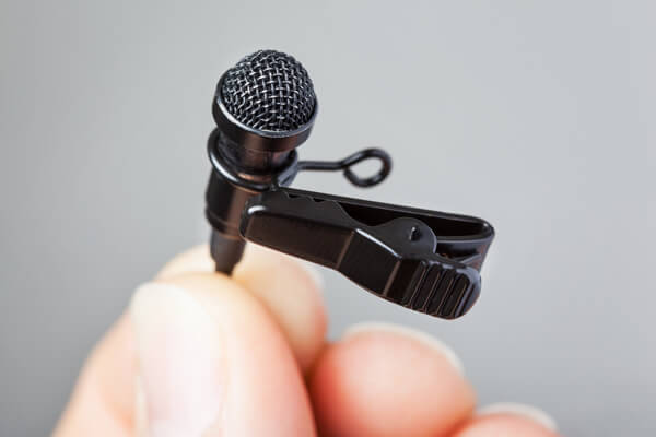 Clip a lavalier mic to your clothing for hands-free operation.