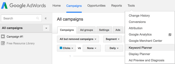 In Google AdWords, select Keyword Planner from the Tools menu.