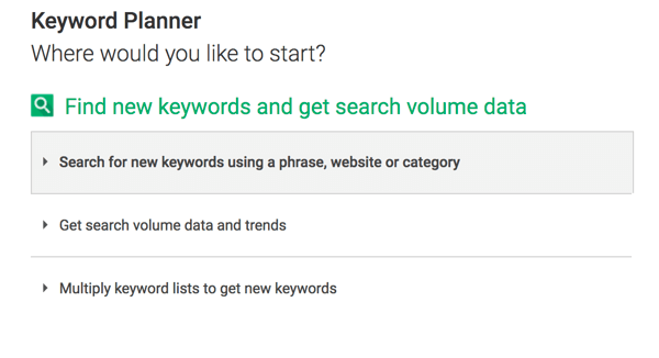 Click the first option to search for new keywords in Keyword Planner.