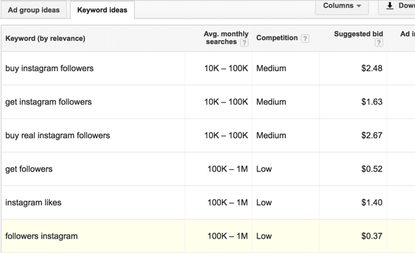 Get more keyword ideas in your Keyword Planner search results.