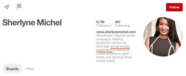 Add popular keywords to your Pinterest profile description.