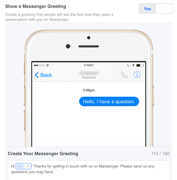 You can set up a custom welcome message for Facebook Messenger in your Settings.