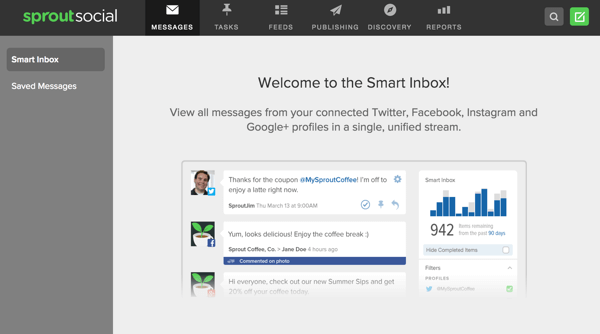 Sprout Social offers a smart inbox that lets you view messages from multiple social profiles in one place.