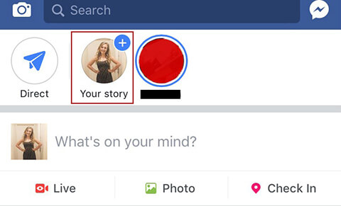Creating your first Facebook Story.