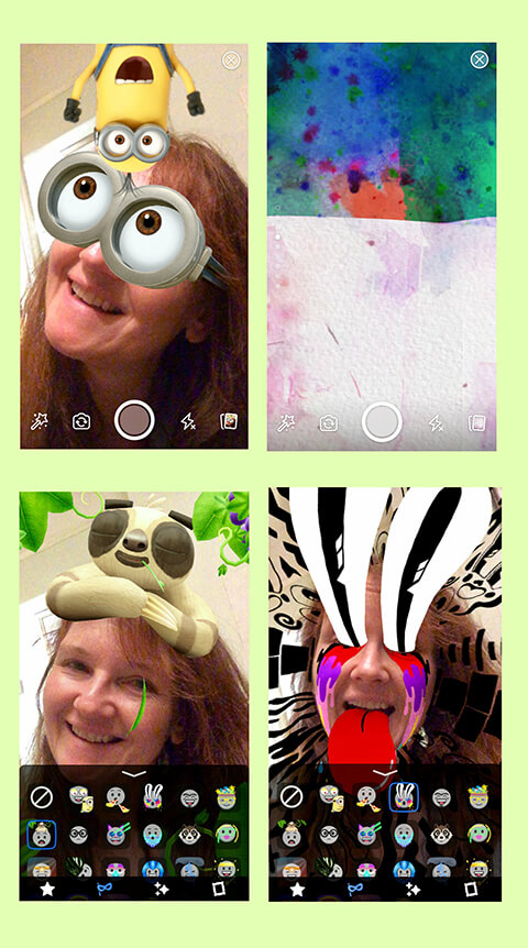 Examples of Facebook Story filters, overlays, and masks.