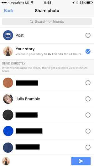 Choosing where to post your Facebook Story content.