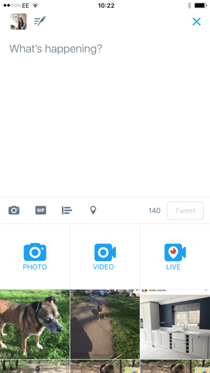 Start live video from within the Twitter app.