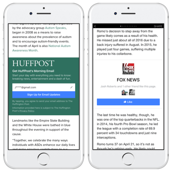 Facebook added Page Like and Email Sign-Up call-to-action units to all Instant Articles publishers.