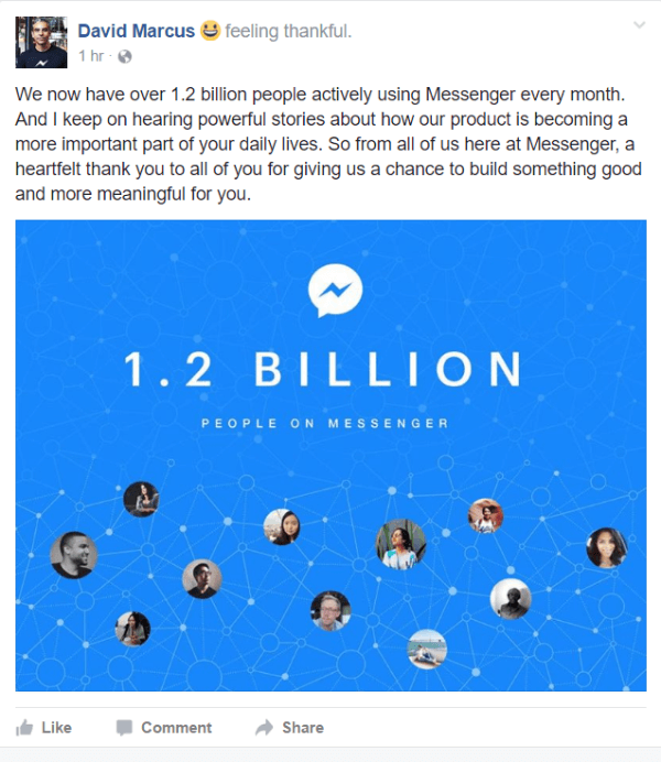 Facebook revealed that there are currently over 1.2 billion people actively using Messenger every month.