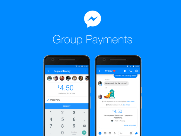 Facebook users can now send or receive money between groups of people on Messenger.