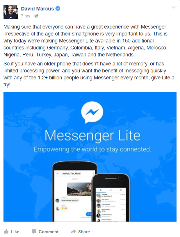 Facebook Messenger Lite is now available in more countries around the world.
