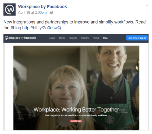 Facebook announced several new integrations and partnerships within its Workplace by Facebook team communications tool.