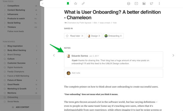 Feedly rolls out a new notes feature that appears at the top of the story, where you can edit it or add another note right below it.