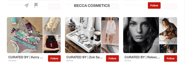 Example of guest boards on Pinterest curated by influencers for Becca Cosmetics.