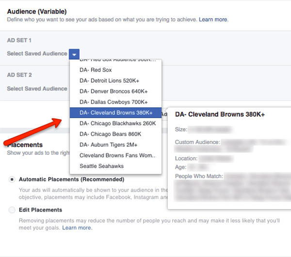 Pick two saved audiences for your Facebook audience split test.