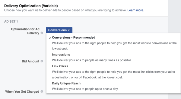 You can choose from a number of Optimization for Ad Delivery options for your delivery optimization split test.
