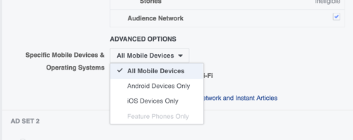 You can test whether iOS or Android users respond better to your Facebook ads.