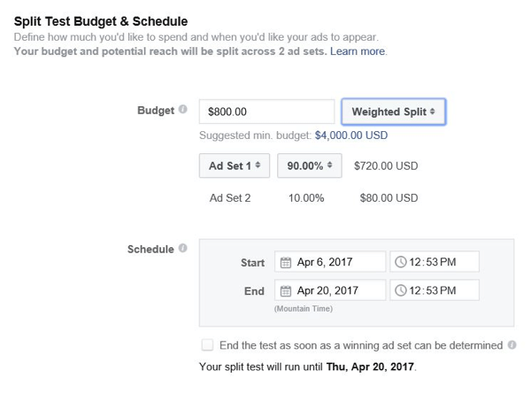 Facebook lets you control how much budget to allocate to each ad set.