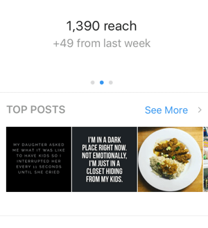 On the first screen of your Instagram insights, swipe right to view your reach.
