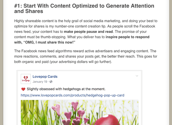 Excerpt from How to Maximize Your Facebook Reach by Mari Smith on Social Media Examiner.