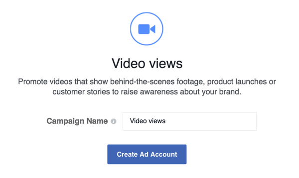 Type in a name for your Facebook campaign.