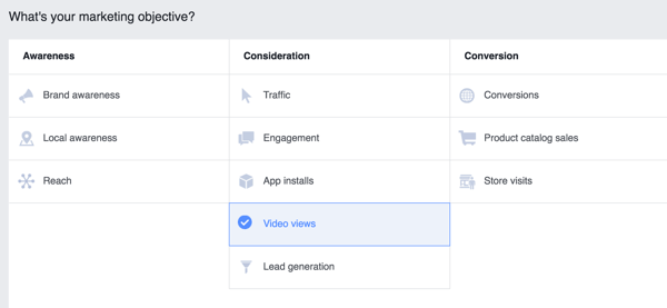 Choose an objective for your Facebook ad campaign.