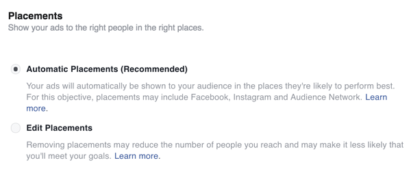 Select placements for your Facebook ad.