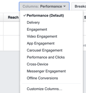 Click the Columns drop-down list for options to change the columns you see in Facebook Ads Manager.