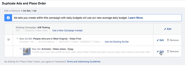 Click the Edit link to the right of your new Facebook ad set.