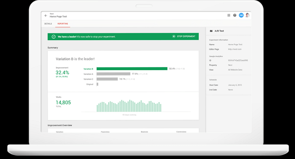 Google Optimize is a free tool for conversion rate optimization.