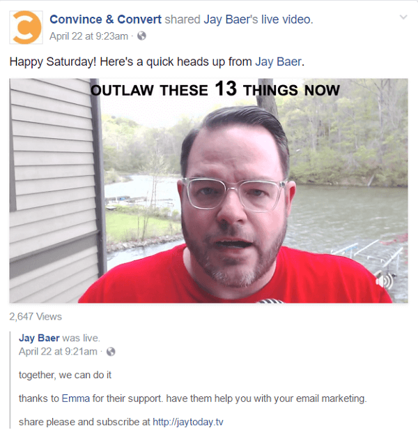 Jay puts the video for each Jay Today episode on four different social media platforms, as well as a blog post on LinkedIn, Medium, and his website.