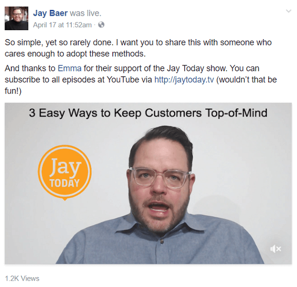 The Jay Today show was originally on YouTube and is now broadcast on Facebook Live.