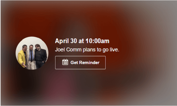 Facebook enables you to schedule your Lives, so you can tell your friends and fans.