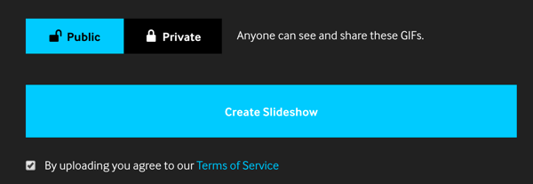 Click Create Slideshow to complete your GIF on Giphy.