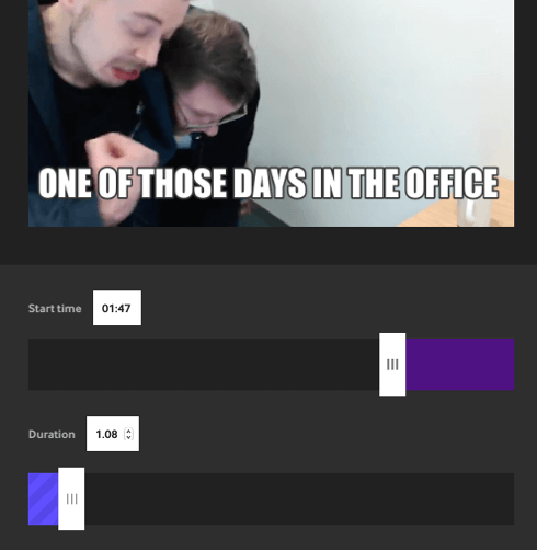 Set the start time and duration of your GIF on Giphy.