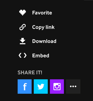After you create your GIF on Giphy, you can download it, embed it, or share it directly to Facebook, Twitter, or Instagram.