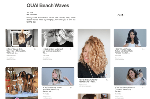 Example of a tutorial board on Pinterest showcasing OUAI products.