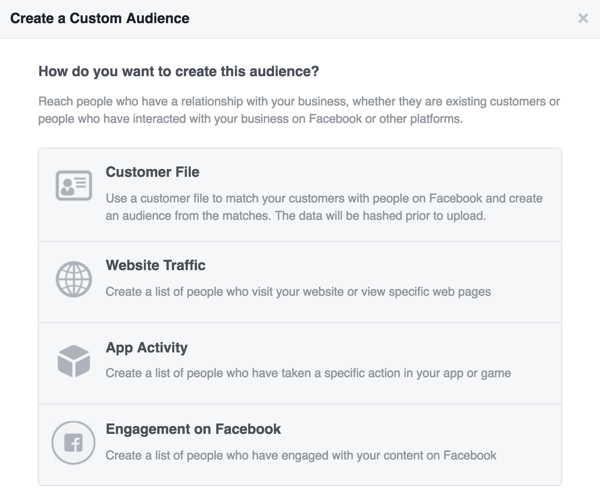 Choose the source you want to use for your Facebook custom audience.