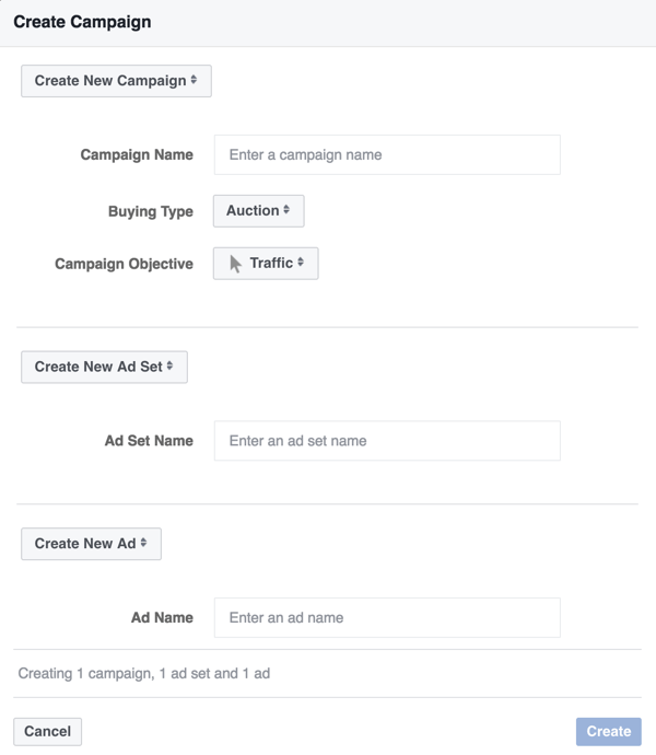 Choose the Traffic campaign objective for your Facebook Messenger ad.