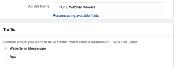 Choose the Website or Messenger option under Traffic.