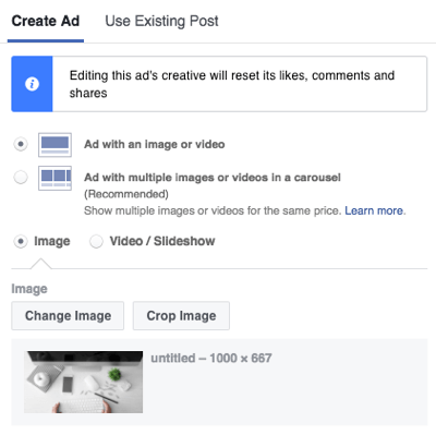 Choose the format of your Facebook Messenger ad.