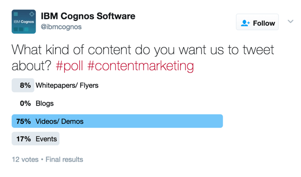Gather feedback from your audience with a Twitter poll.