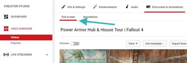 Go to Video Manager > Videos > End Screen & Annotations on YouTube.