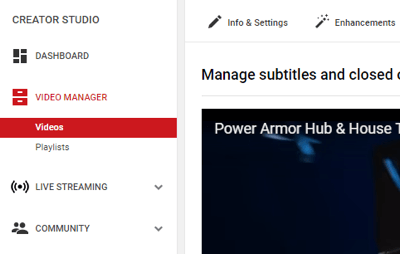 Select Videos > Video Manager in the left sidebar on YouTube.