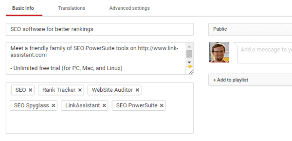 For your YouTube video, optimize your title, description, and tags. Then save your changes when you're done.