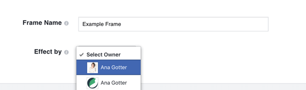 Choose your Facebook business page as the owner of the frame if it's promoting your brand.