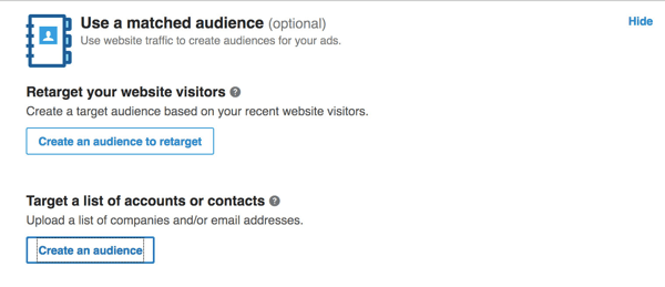 Click the Create an Audience button.
