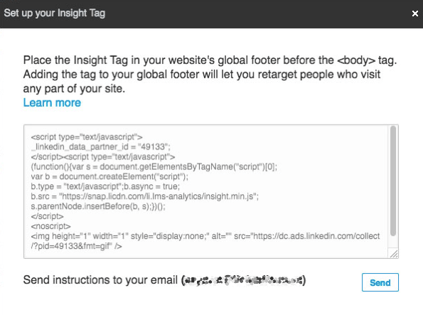 Install the LinkedIn insight tag on your website.