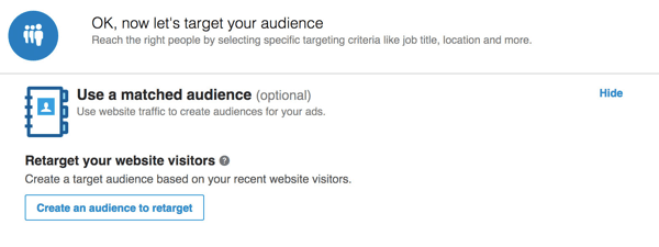 Click Create an Audience to Retarget.