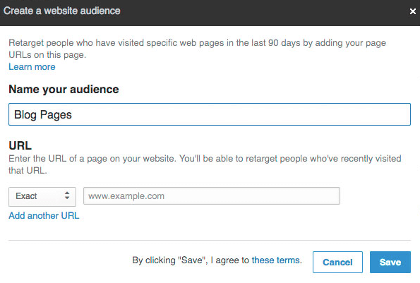 Enter a name for your website retargeting segment.